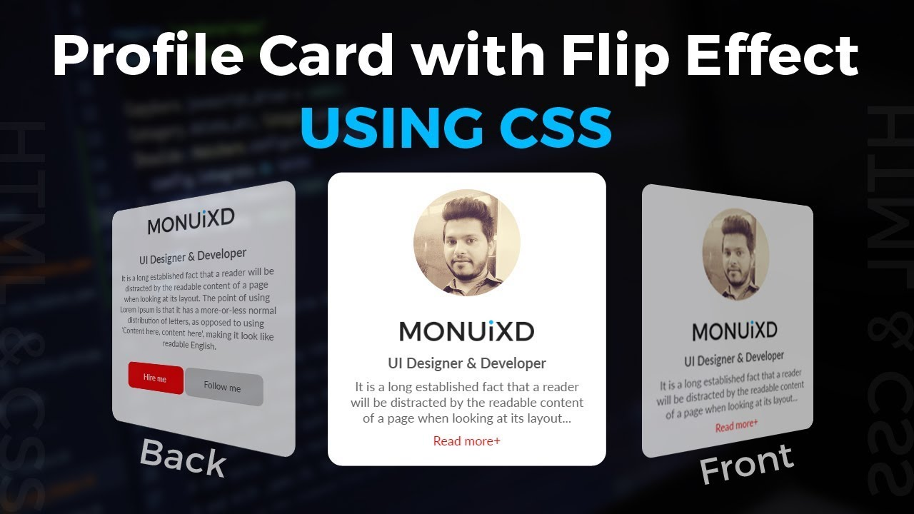 Profile Card with Flip Effect using HTML & CSS - UpLabs