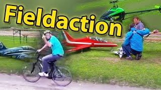 Airdrift and Action on the flightfield: Angry Cyclist, Crash of Phantom F4, burning Lipo, Albatross