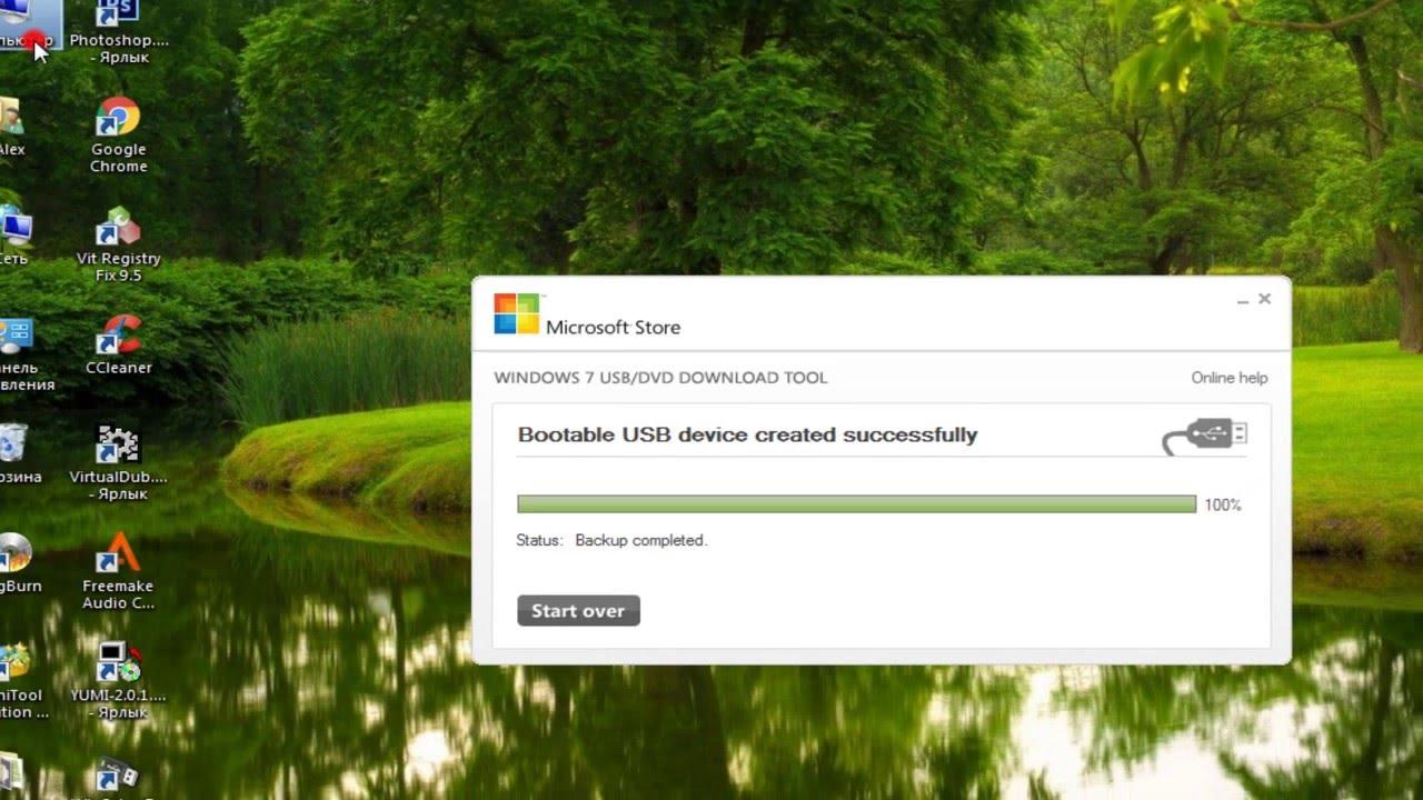 Программа для создания загрузочной флешки windows 7 usb dvd download tool