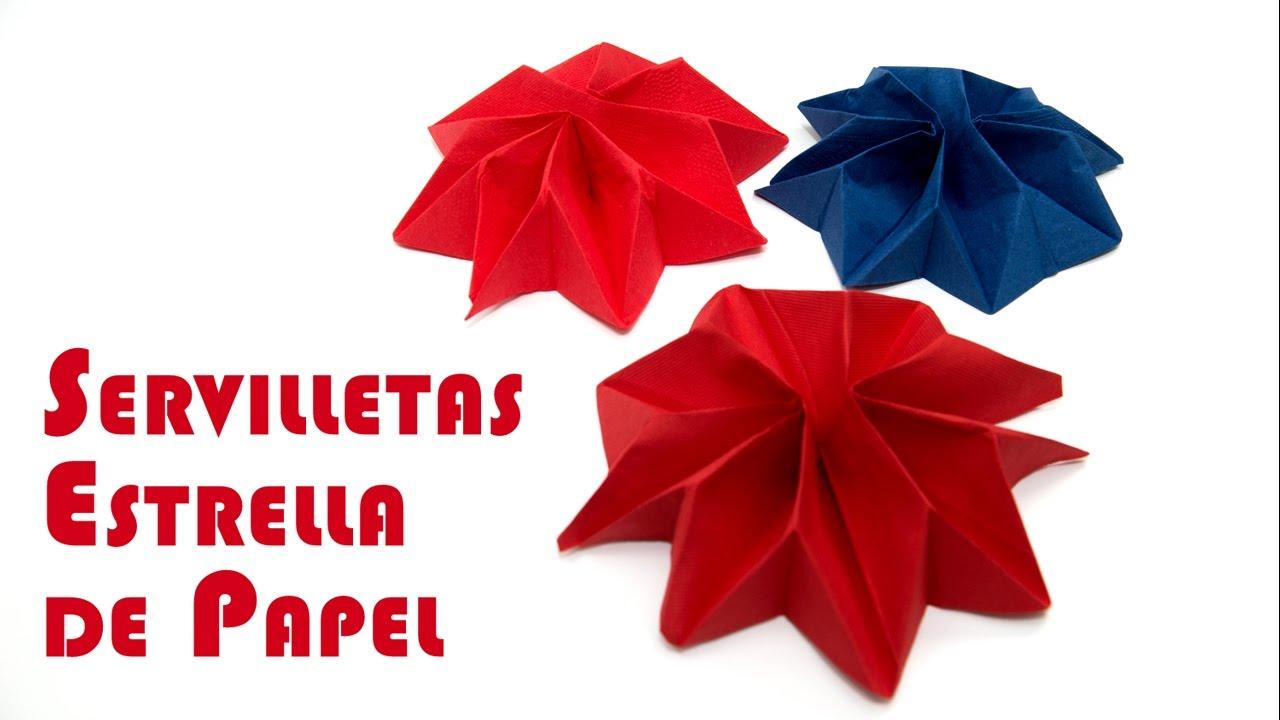 Elegante servilleta estrella de papel para fiestas youtube - Origami con servilletas ...