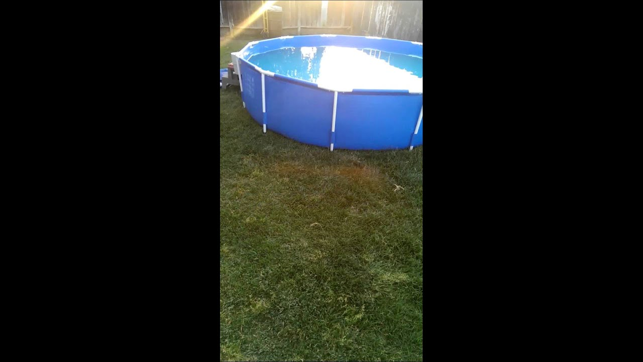 New summer escape metal frame pool 12x30 youtube - Steel frame pool ...