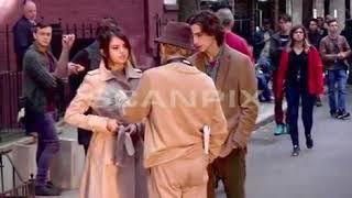 Selena Gomez With Woody Allen & Timothée Chalamet On Set Of Woody Allen's Movie In NY 9/11/2017