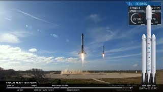 SpaceX Falcon Heavy Launch of Tesla with Starman, final countdown to boosters landing (2/6/2018)