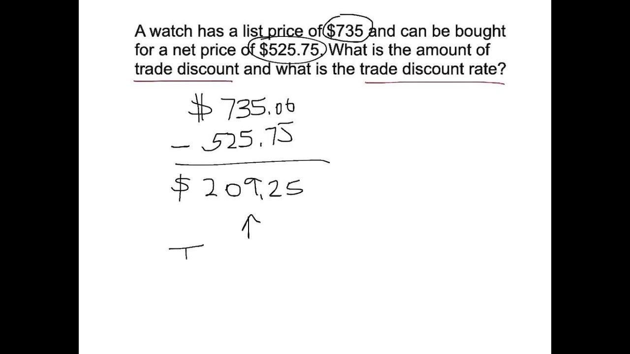 mtb1103 trade discount  u0026 discount rate
