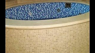 укладка бассейна мозаикой из натурального камня,часть 4
