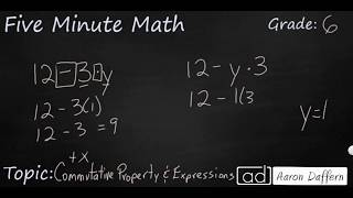 6th Grade Math Commutative Property and Expressions