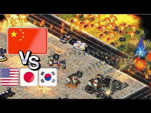 China vs USA - Japan - South Korea | Red Alert 2 mod REBORN