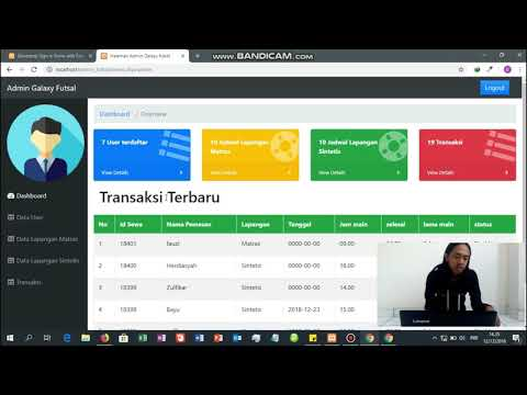 Halaman Admin Aplikasi Website Penyewaan Lapangan Futsal Youtube