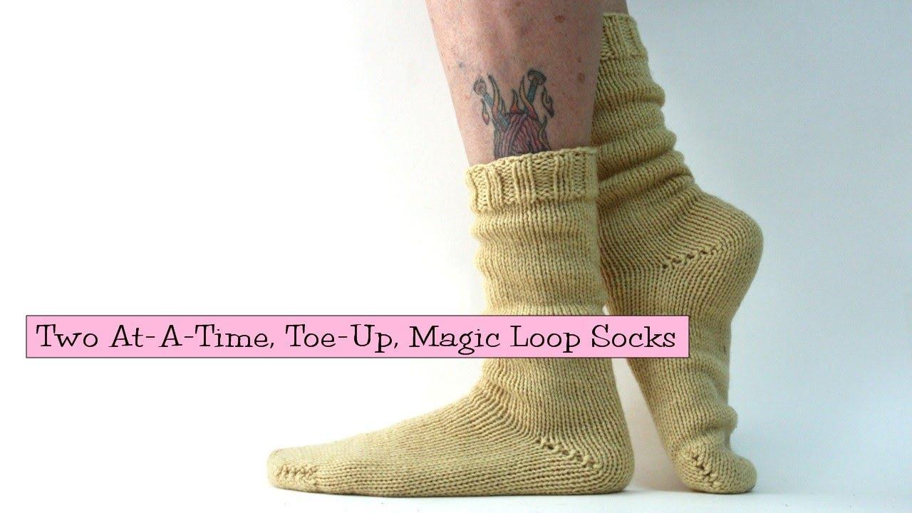 Free Knitting Pattern For Toe Up Socks On Magic Loop : 2 Socks at-a-Time, Toe-Up, Magic Loop - YouTube