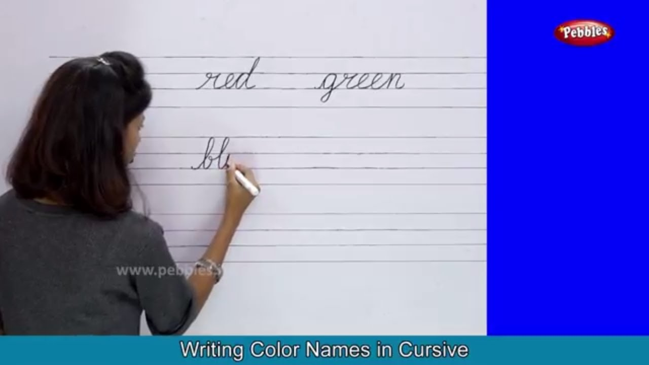 Colors Names With Spellings Shapes With Pictures Cursive Writing Practice Colors For Babies