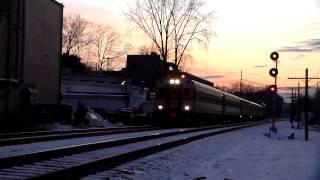 Commuter rail at sunset