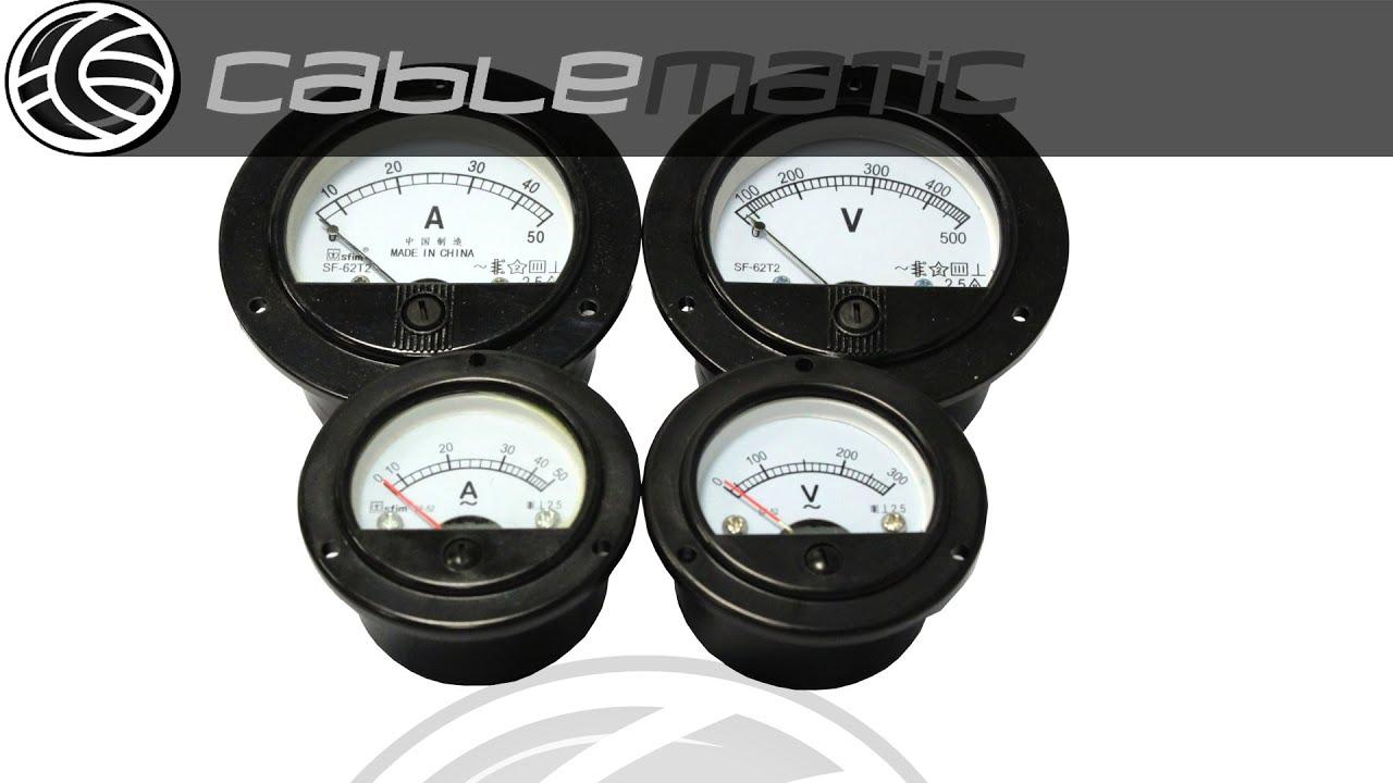 Analog electric meter panel round 52mm 50A ammeter BeMatik