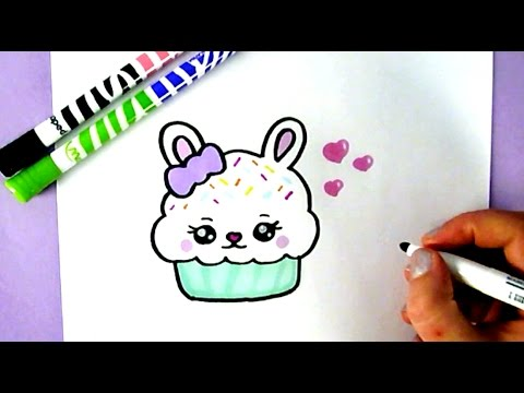 How to draw a cute bunny cupcake cute food drawings
