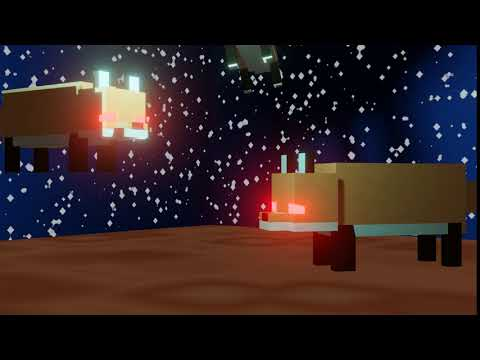[ID: a five second long video of three 3d models of minecraft foxes falling and then bouncing. they have glowing red eyes. end...
