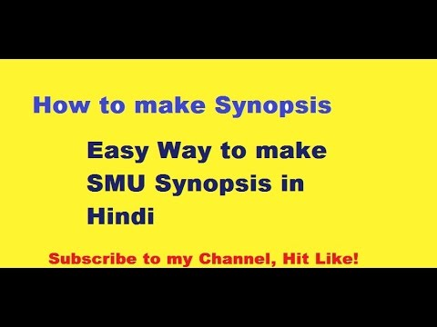 How to prepare Synopsis