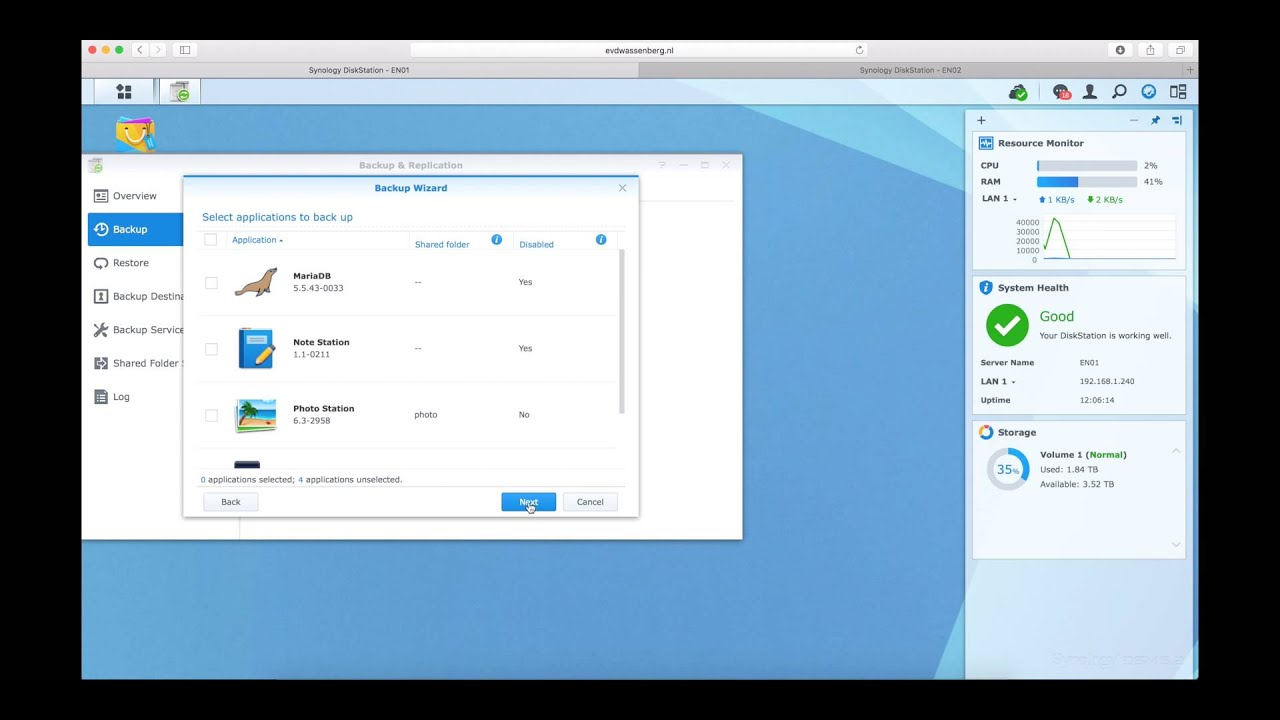 Synology NAS: Back up Synology NAS to another Synology NAS ( 4K )