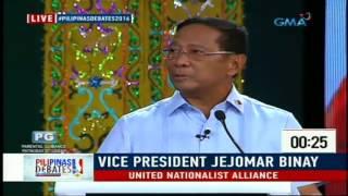 vp jejomar binay closing statement 2016 presidential debate