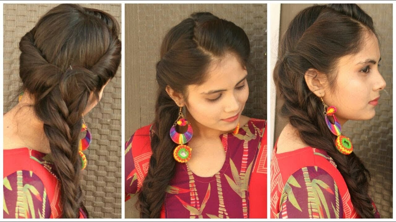 Indian Festival Hairstyle Rolled Up Fishtail Braid Hairstyle For Long Hair