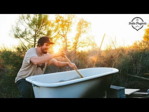 Wood Fired Off-Grid Outdoor Bath Tub!
