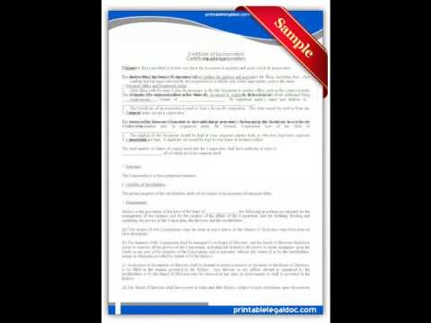 Free printable Certificate of Incorporation Forms