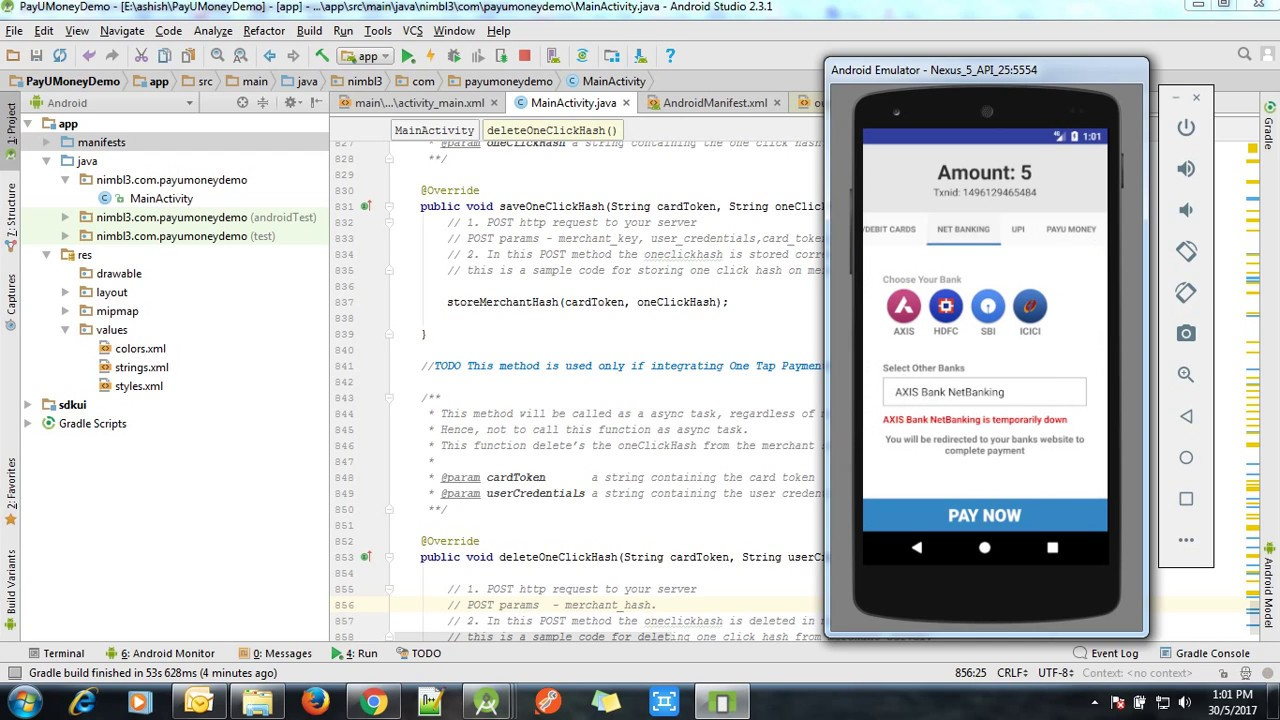 PayU Money Integrating on Android Studio