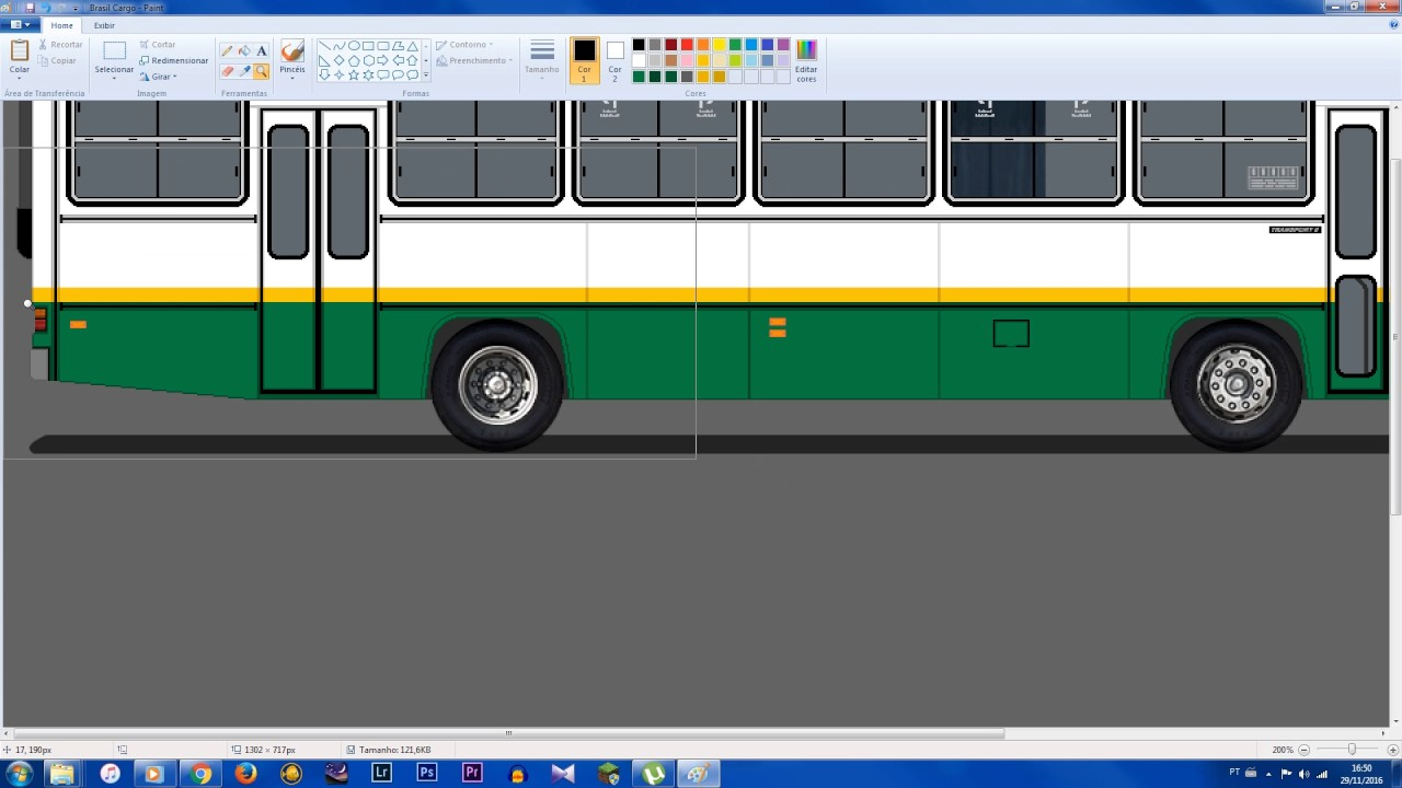Como Pintar Um Desenho De Onibus No Paint Photoshop Youtube