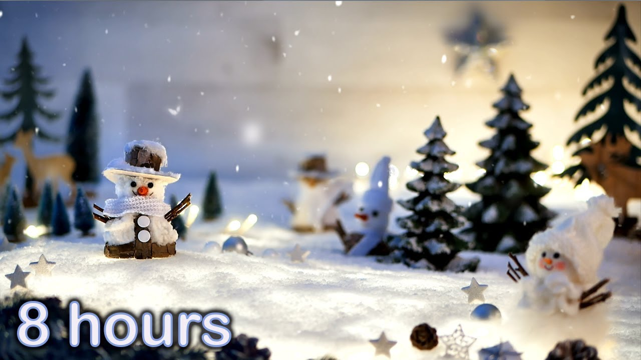 ✰ 8 HOURS ✰ Christmas Music Instrumental ♫ HARP ♫ Peaceful Snowing Snowman video ☃️ Christmas Carols