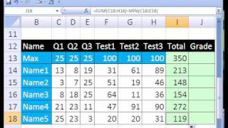 Excel Magic Trick #195: Grade Book That Subtracts Lowest Score