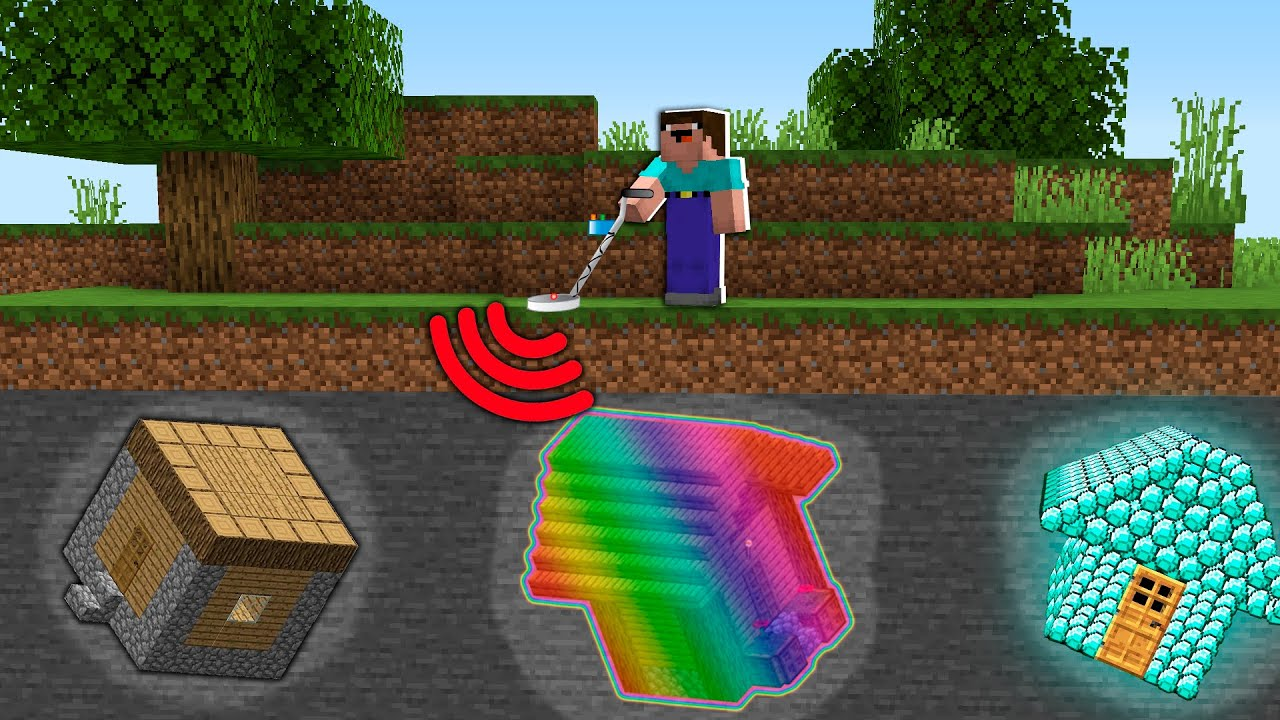 House Diamond Rainbow Which Noob Can Found With Metal Detector Minecraft Noob Vs Pro Battle Youtube