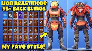 "NEW LION ""BEASTMODE"" SKIN Showcased With 95+ BACK BLINGS! Fortnite Battle Royale - LION SKIN COMBOS"