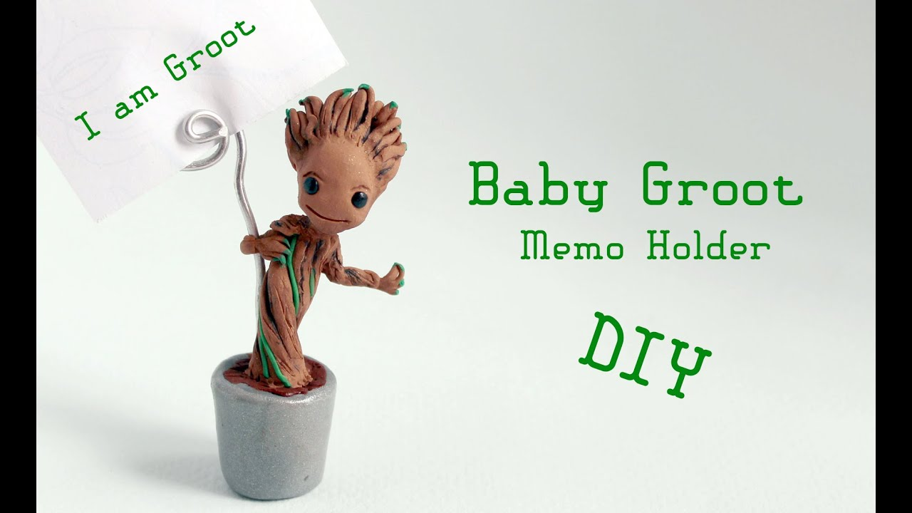 b58c9b6c1f028 Baby Groot Memo Holder Polymer Clay Tutorial (Guardians of the Galaxy)