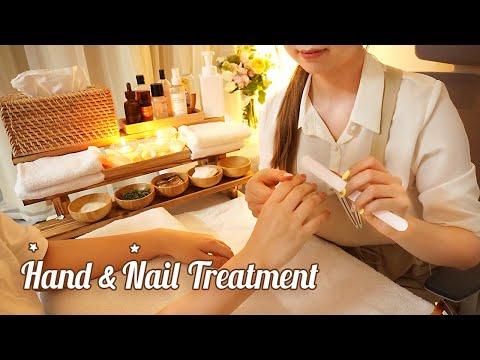 ASMR Gentle Hand Massage & Nail Care🧡 scrubs, hand mask, mist, essential oil