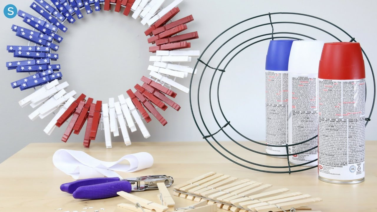 Clothespin Flag Wreath Diy Holiday Craft Simplemost