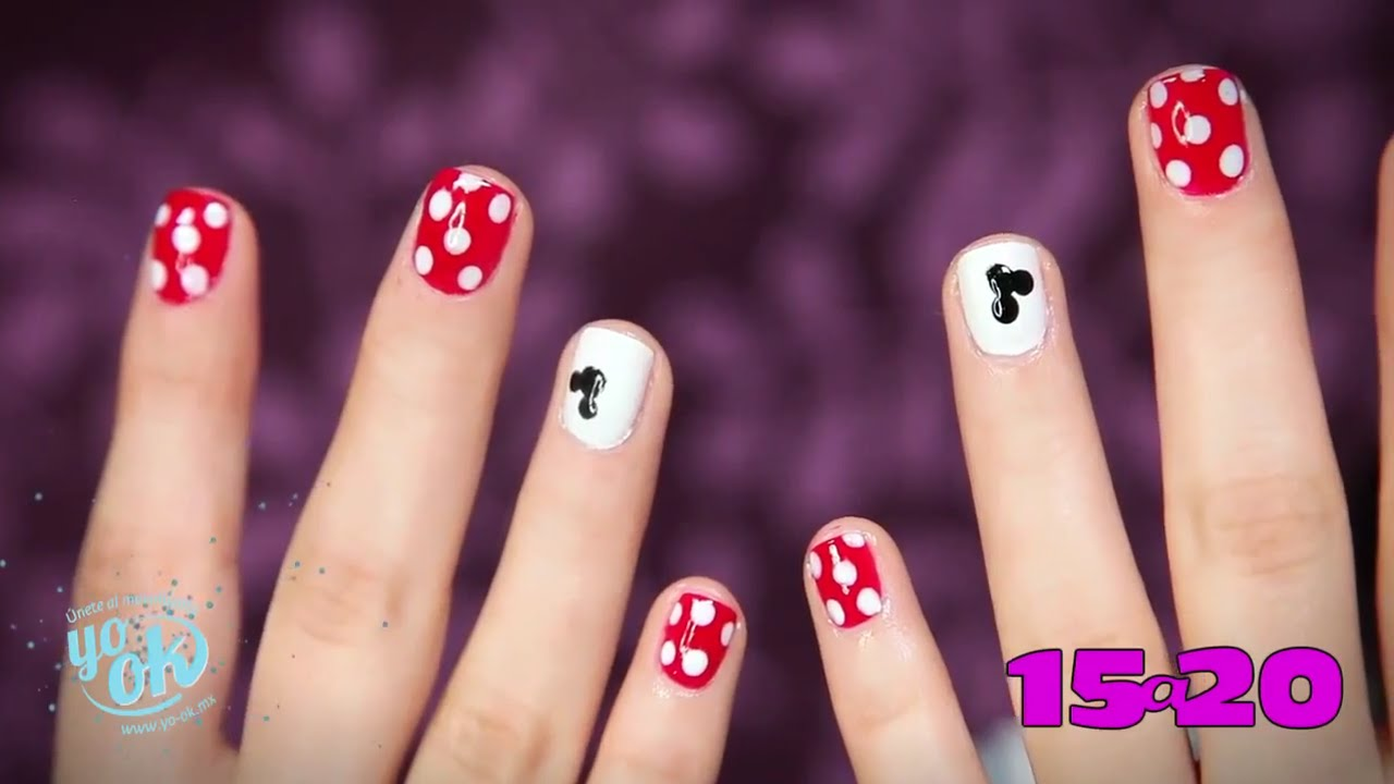 Tutorial: Uñas con diseño de Mickey Mouse - YouTube