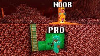 Minecraft Noob vs. Pro : NETHER SECRET BASE challenge - funny Minecraft battle - Florie