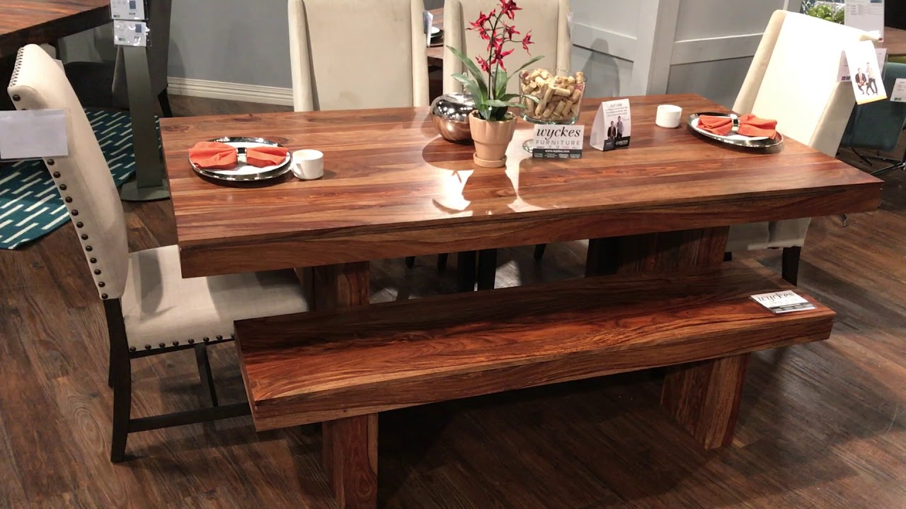 Scott Living Hillsborough 107501 Honey Sheesham Solid Wood Dining Set With  Bench