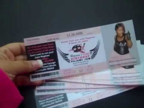 Rock Concert Style Tickets Invitations at eventphotocards.com