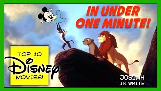 Top 10 Classic Disney Animated Movies of All Time: In Under One Minute (U1M)