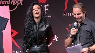 Rihanna at Hard Rock Café in Paris to announce the release of a charity t-shirt  - Part 2