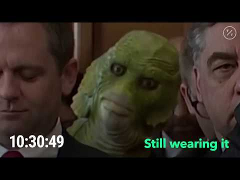 Mike Broomhead - Green Peace wears a Swamp Thing Mask during Senate Hearing