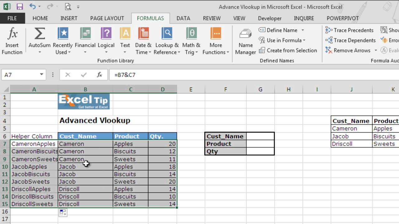 Advance Vlookup in Microsoft Excel
