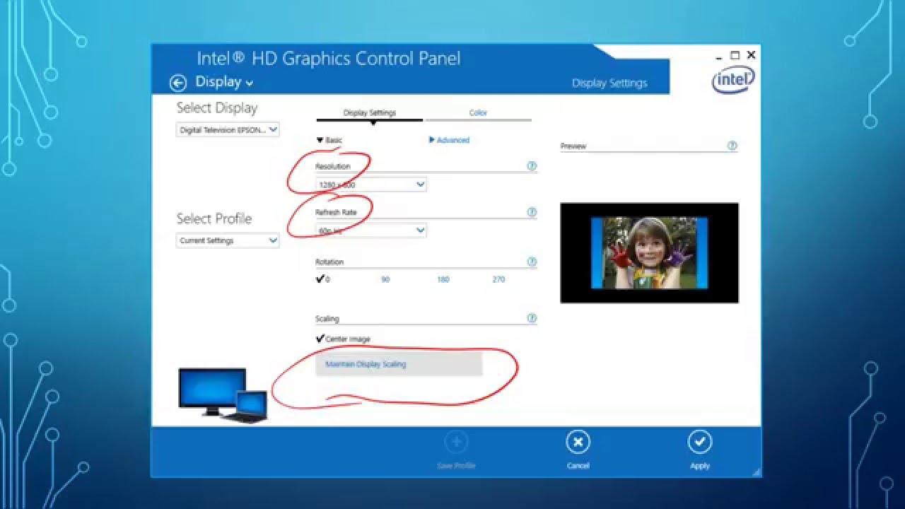 Windows 10 Dis[play Settings for Wide Screen Projectors - Dell Venue 10
