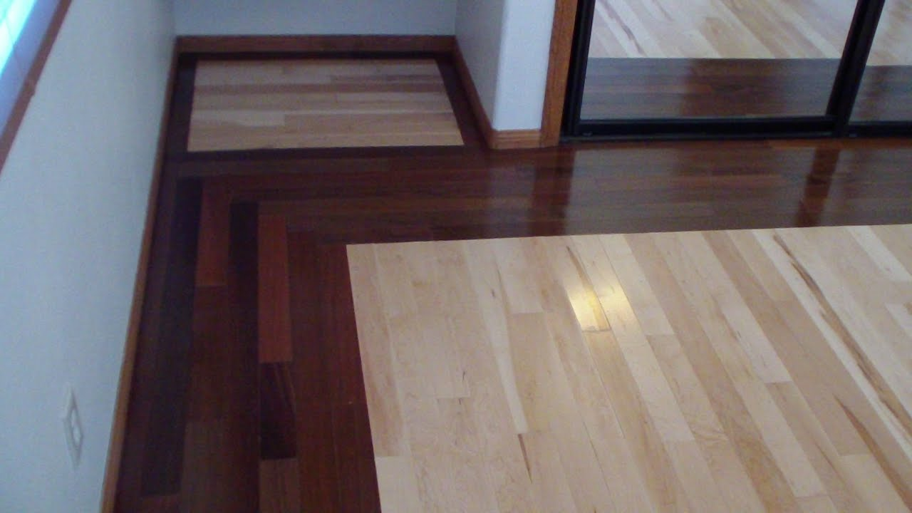 Walnut And Maple Hardwood Floor Installation Youtube