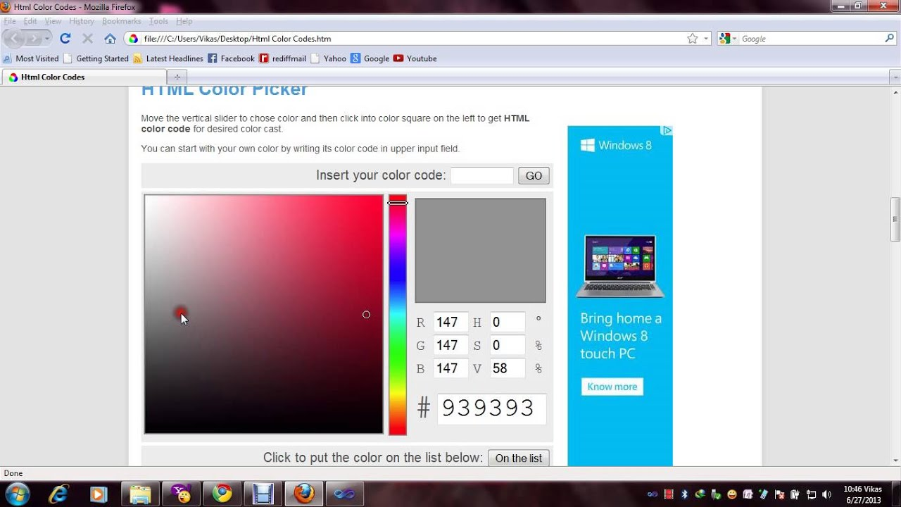 How we can change page background color and Font color in AspNet