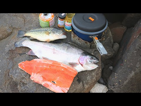 MASSIVE TROUT COOKOUT ON A RIVERBANK (6 Pounder!)