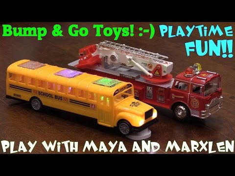 Car Toys: Bump & Go School Bus and Fire Truck Toys w/ Lights and Sounds Unboxing & Playtime