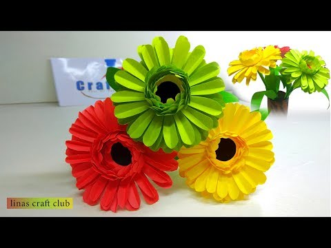 How to Make Daisy Paper Flower   Artificial Flowers   linascraftclub