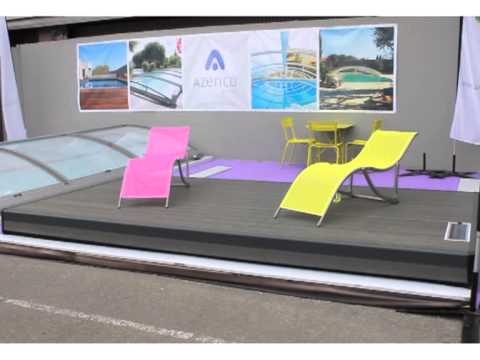 Abri de piscine pooldeck youtube for Abri piscine azenco