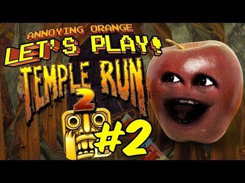 Annoying Orange Let's Play Temple Run: Midget Apple Run!