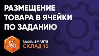 размещение товара в ячейки указанных в задании на ТСД в ПО «Mobile SMARTS: Склад 15»